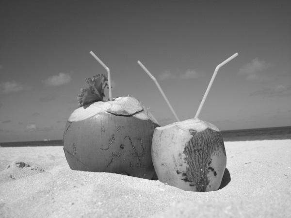 frisches-kokoswasser am Strand aus zwei gruenen kokosnuessen