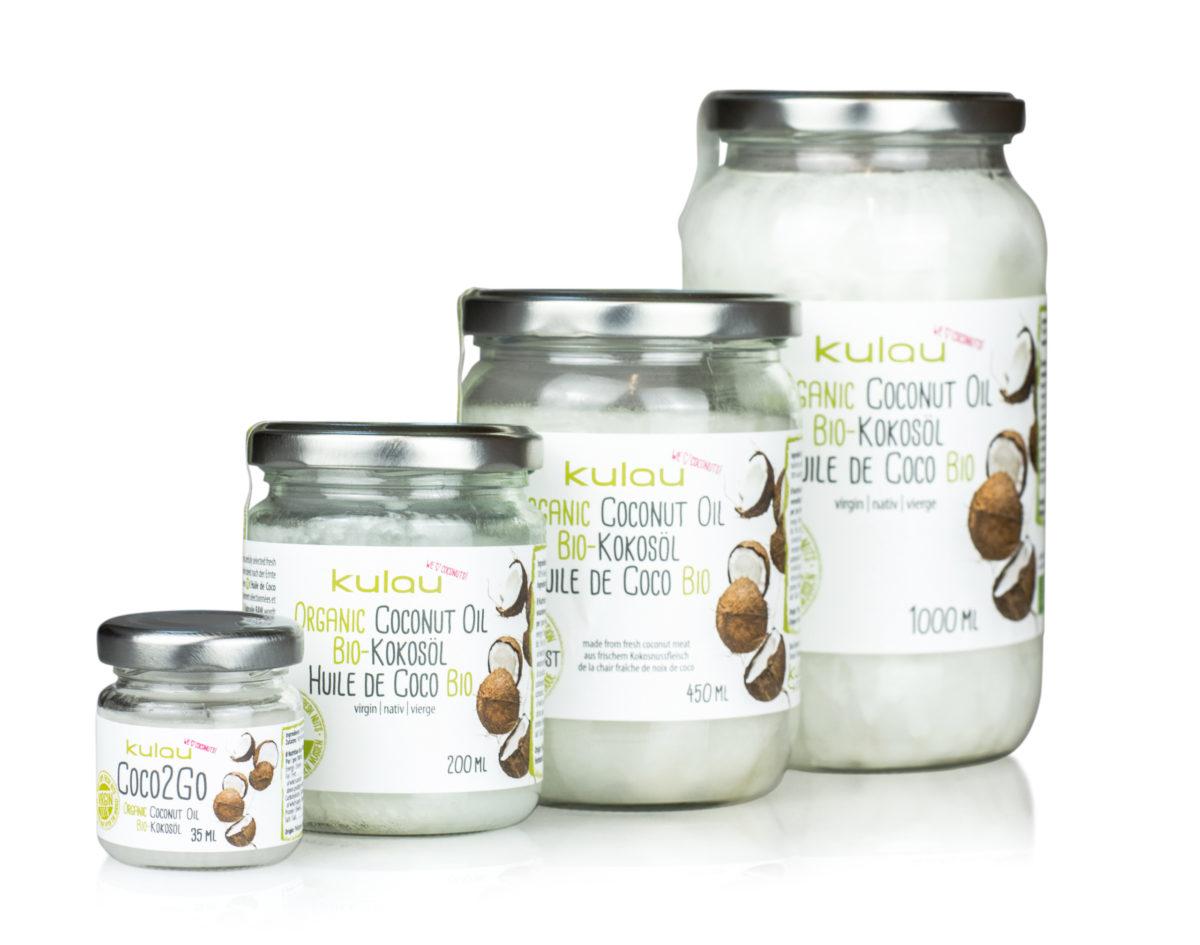 KULAU Bio-Kokosöl alle Größen auf einem Bild