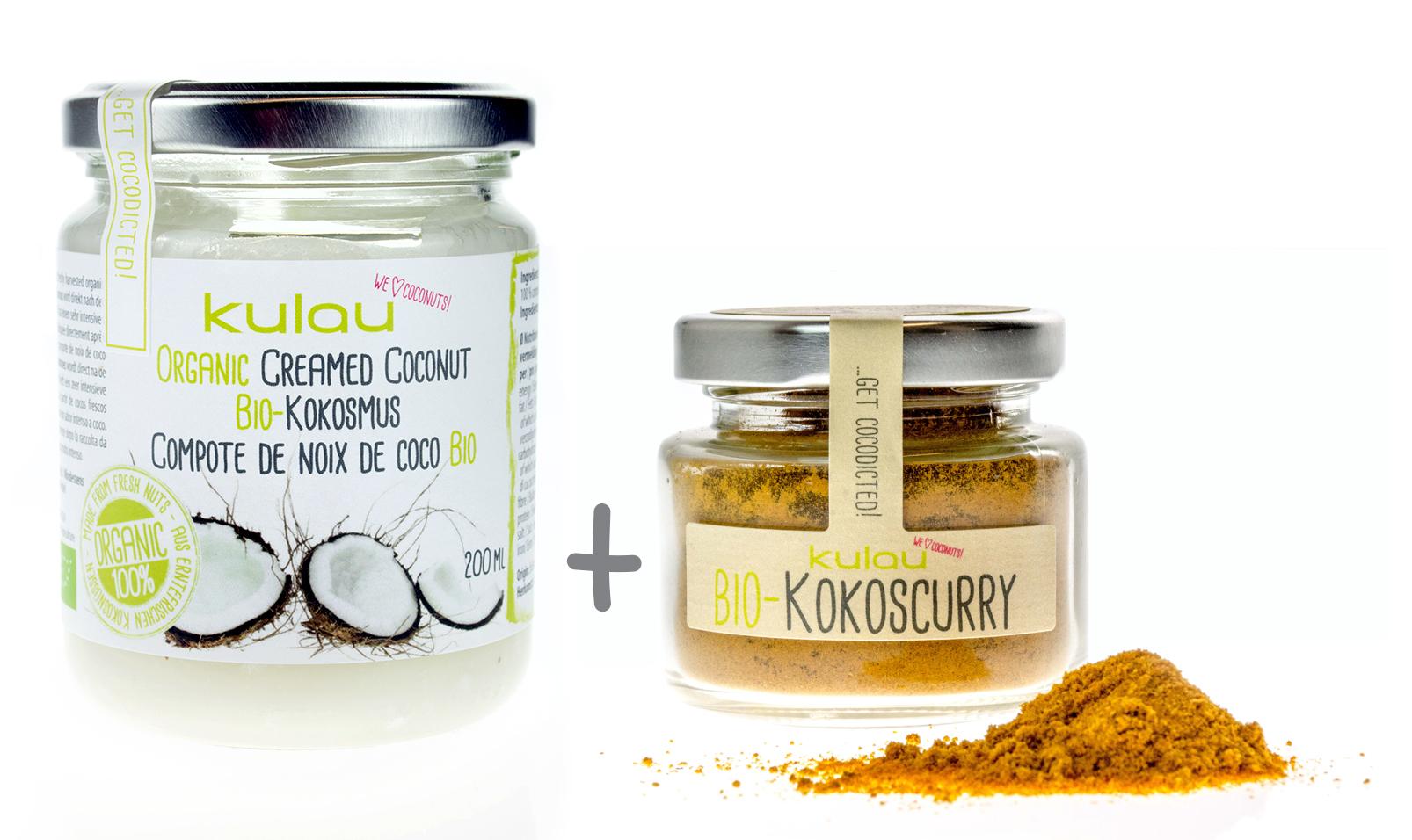 KULAU Kokos-Set | Bio-Kokosmus 200 ml + Bio-Kokoscurry 40 g  Special-Preis 10,80 €