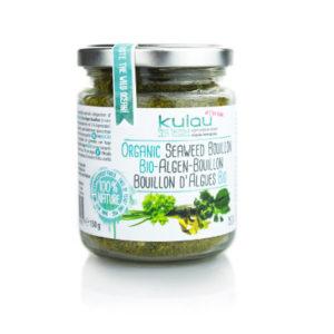 Ein Glas der KULAU Bio-Algenbouillon 150 g