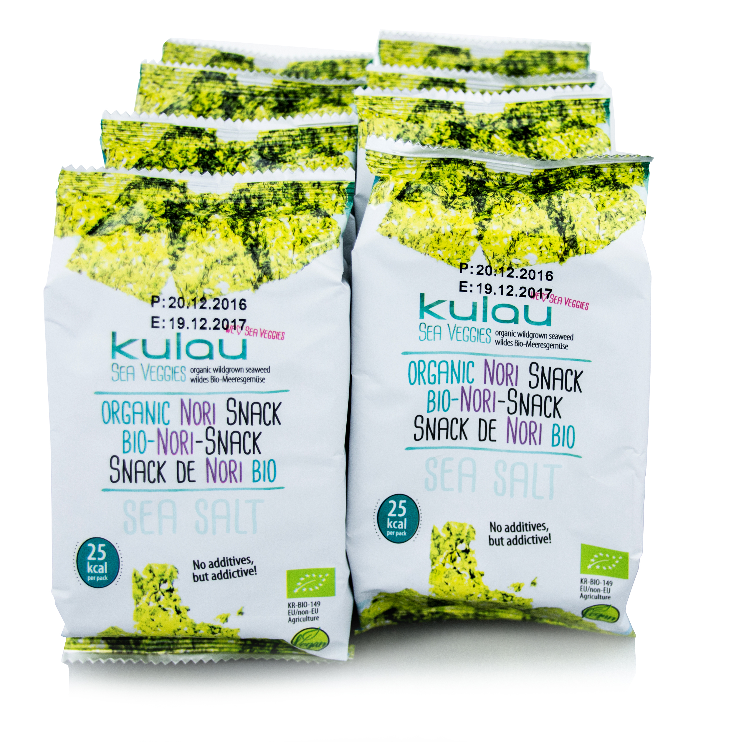 8er Pack des KULAU Bio-Nori-Snacks Sea Salt