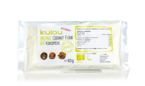 Kleine Packung des KULAU Bio-Kokosmehls.