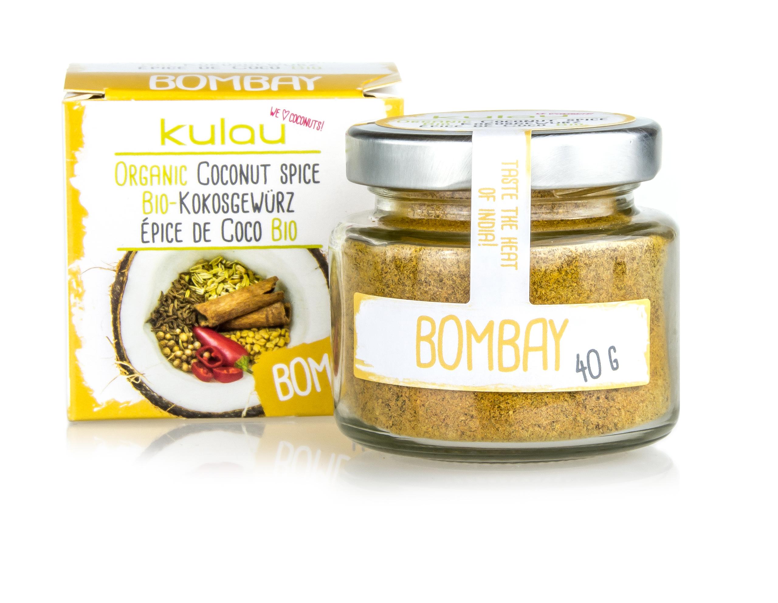 Ein Glas des KULAU Bio-Kokosgewuerzes Bombay