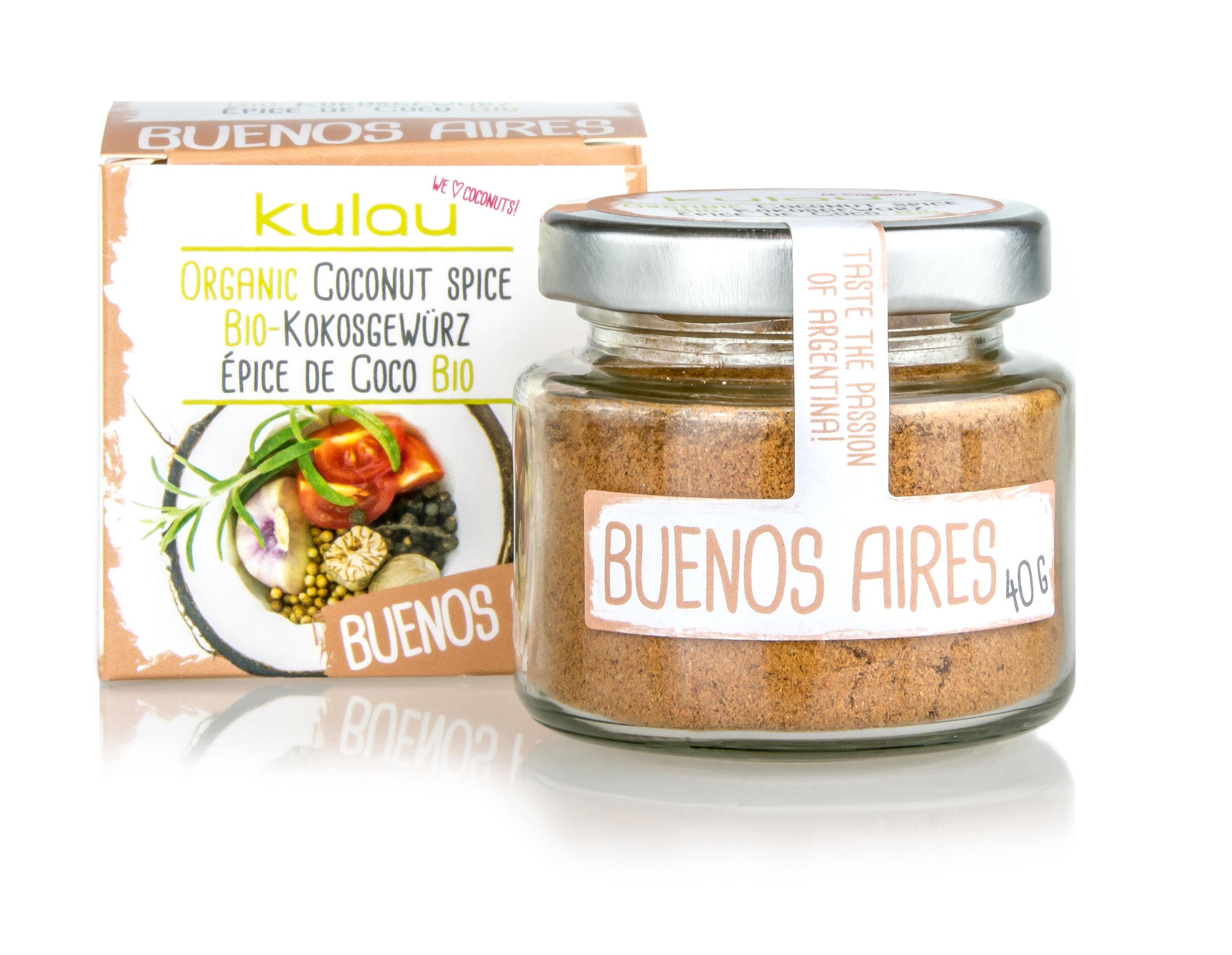 Ein Glas des KULAU Bio-Kokosgewürzes Buenos Aires.