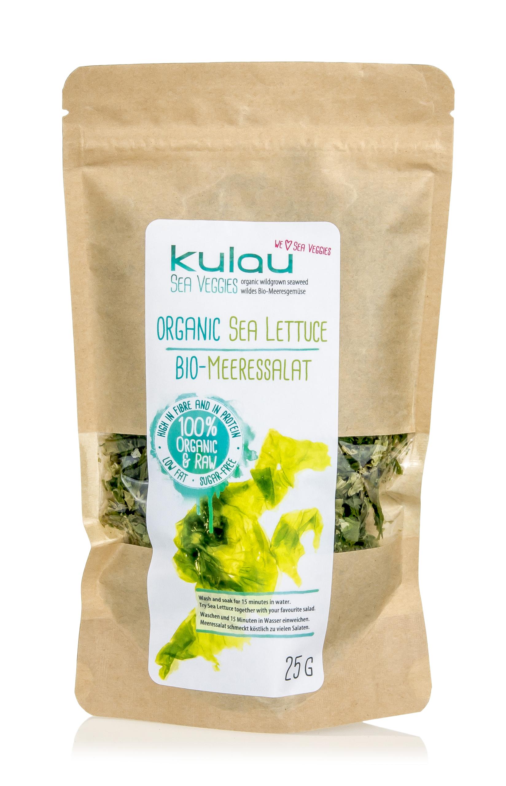 Eine Packung der getrockneten Algen KULAU Bio-Meersalat