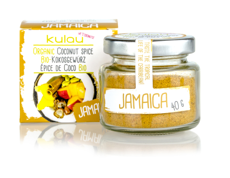 Ein Glas des KULAU Bio-Kokosgewuerzes Jamaica