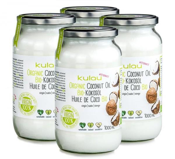 4 × KULAU Bio-Kokosöl 1 l