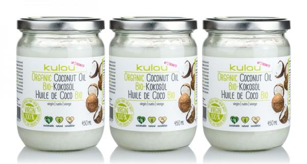 3 x KULAU Bio-Kokosöl 450 ml