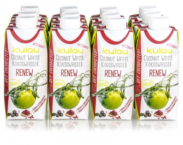 12 x KULAU Bio-Kokoswasser RENEW 330 ml; (MHD 08.10.2019)